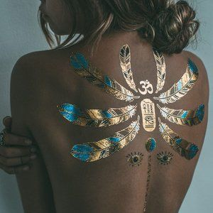 3 sheets Golden White Temporary Tattoo